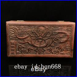 10 China antique huanghuali wooden handcarved dragon wood jewelry Box
