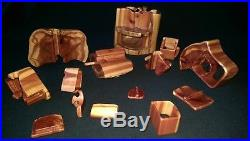 15 pc. VTG Carved CEDAR Wood PUZZLE Jewelry Box SECRET Trick TRINKET Compartment