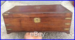 1850's ANTIQUE HANDCRAFTED WOODEN JEWELLERY / MERCHANT'S MONEY BOX BRASS FITTING