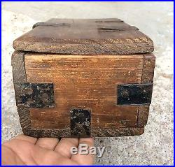 1850's ANTIQUE RARE HAND CRAFTED WOODEN JEWELLERY / MERCHANT'S MONEY BOX