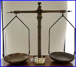 1900's Old Antique Gold Smith Jewelry Weight Balance Brass Scale with Wooden Box