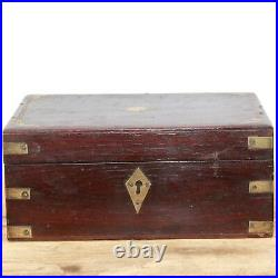 1900s Old Antique Brass Fitted Flower Design Indian Wooden Jewelry / Cash Box#29