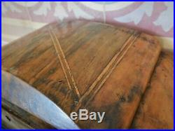 1920's RARE ANTIQUE FRENCH ART DECO WOODEN JEWELRY BOX MAKE UP MIRROR