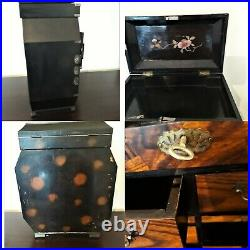 1920s Japanese Lacquer Small Chest Drawers Tansu Jewellery Box Wooden Marquetry