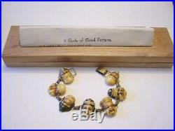 1940's SEVEN GODS OF FORTUNE Celluloid Bracelet SIGNED In Original Wooden BOX