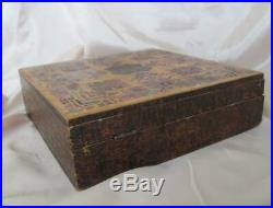 19c. Antique art noveau large hand painted wooden jewelry trinket box
