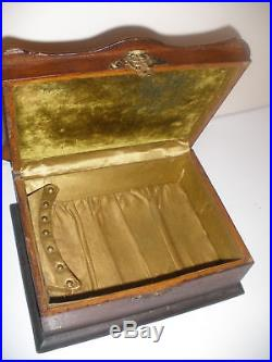 19th ANTIQUE VICTORIAN WOOD EARLY WOODEN JEWELRY BOX