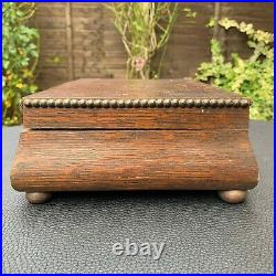 19th C. Antique Footed Wooden Jewelry Trinket Box Casket WithOrnate Bronze Mounts