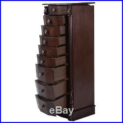 2015 Wood Jewelry Cabinet Armoire Box Storage Chest Stand Organizer Necklace