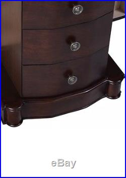 2016 Wood Jewelry Cabinet Armoire Box Storage Chest Stand Organizer Necklace