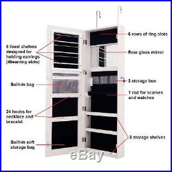 2-In-1 White Wooden Over The Door Mirror And Jewellery Organiser Armoire Cabinet