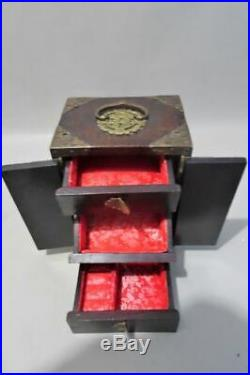 2 x Wooden Jewellery Cabinets with Hard Stone Amulets and Brass Fittings