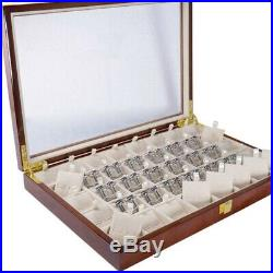 40 Pairs Cufflink and Tie Clip Storage Box for Men Fashion Painted Wooden I5T8