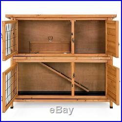 48x41 Outdoor Wooden 2 Story Rabbit Bunny Pet Hutch House Cage Small Animals