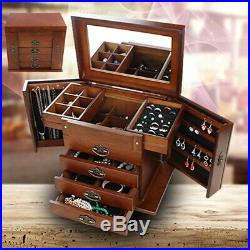 4 Layers Wooden Jewelry Box Necklace Ring Bracelet Storage Watch Display Case