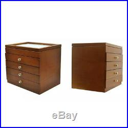 50 Piece Fountain Pen Holder Wooden Display Case Jewelry Box, Antique Color