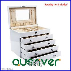 5 Layer Piano Finish Wooden Necklace Rings Storage Organiser Jewelry Box White
