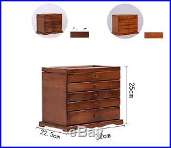 5 Layers Vintage Retro Large Brown Wooden Jewellery Box Gift Storage Watch Case