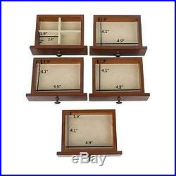 6 Layers Wooden Jewelry Box Armoire Cabinet Storage Drawers Organizer with Lock