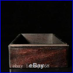 7 China old Sandalwood wooden handcarved Imbue Jade dragon people Jewelry box