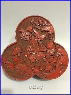 7 Chinese antique Lacquer ware wooden handcarved flowers and birds Jewelry box