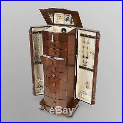 8 Drawer Large Floor Standing Wooden Jewelry Armoir Furniture With Mirror & Lock