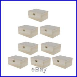 8pcs Unfinished DIY Wooden Jewelry Case Storage Box Painting Art Decoration
