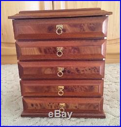 Agresti Burl Wood 5 Drawer Jewelry Box Made In Italy Lovely Box