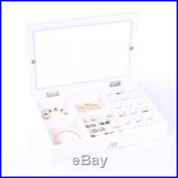 ALightUp Wooden Jewelry Box Organizer Display Storage Case For Rings Earrings
