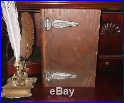 ANTIQUE 12 WOODEN BOOK-HOLY BIBLE BOX Safe Jewelry King James Literature Rare