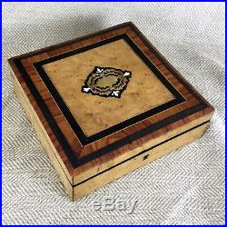 ANTIQUE French BURL WOOD BOULLE INLAID JEWELRY BOX TULIPWOOD SILK Lined c1860