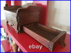 ANTIQUE HAND CARVED WOODEN / JEWELRY BOX WithSIDE DRAWER