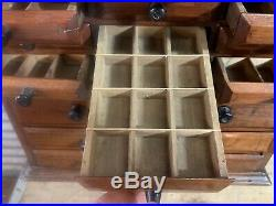 ANTIQUE Vtg Early 1900s 20 DRAWER WOODEN JEWELRY CABINET BOX Vicksburg MICH RARE