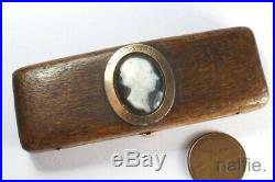ANTIQUE WOODEN GOLD TOOTHPICK BOX c1744 with HARDSTONE CAMEO POET ALEXANDER POPE