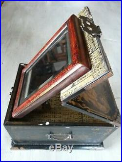 AUTHENTIC Vintage Lacquered ANTIQUE Wooden Brass Chinese JEWELLERY Box Mirror