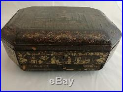 A Chinese Export Black Lacquer Jewelry Treasure Box 14 x 6 in with golden painting