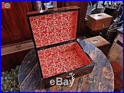 A Restored Coromandel Jewellery Box, Medals. Mother Of Pearl Inlays. Locking