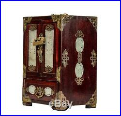 A Vintage Chinese Wooden Carved Inlaid Plaque Decorated Jewelry Trunk Chest