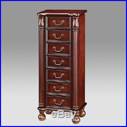 Acme Traditional Lopez Cherry 2-door Jewelry Armoire Box Chest with Insert Mirror