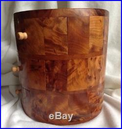 African thuya scent root wood cosmetic jewelry sewing Box 3 Drawers Walnut Like