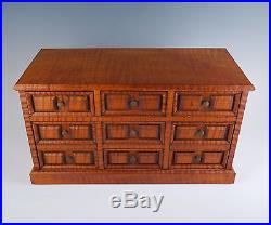 Amazing Vintage Tiger Maple 7 Drawer Wood Jewelry Box Hand Crafted