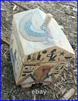 Ancient Egyptian Civilization Antiques Jewelry Wooden Box+4 Faience Amulets BC