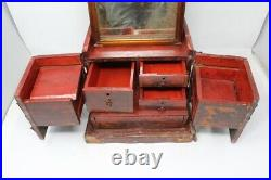Ancient Rare Fine Carved Wooden Jewelry Makeup Box With Mirror 9 Compartment