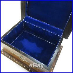 Antique 16 Wooden Jewelry Chest with Ornate Bone Inlay & Royal Blue Velvet Lining