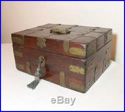 Antique 1800's Victorian hand made brass mounted wooden cigar jewelry box