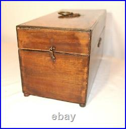Antique 1800's ornate brass mounted veneered wooden wood cigar box jewelry
