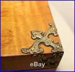 Antique 1800s ornate hand chased brass mounted veneered wooden cigar box jewelry
