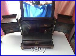 Antique 18th C Chinese Huanghuali Jewelry Cabinet Mirrored Wooden Heavy Box RARE