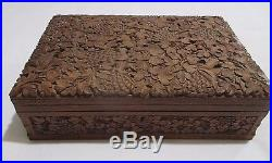 Antique 1940's LARGE Wooden Jewelry Box Intricately Carved Leaf and Flower