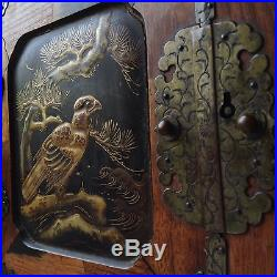 Antique 19. Japanese Wood Lacquer Cabinet Jewelry Box Marquetry Gold Makie Eagle